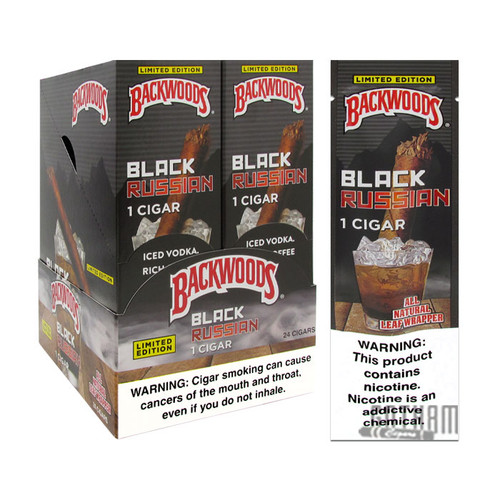 Backwoods Black Russian Singles Box and Foil Pack