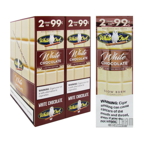 White Owl Cigarillos White Chocolate Box and Foil Pack