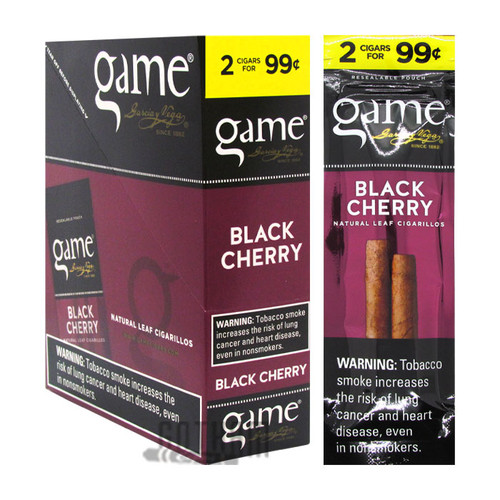 Game Cigarillos Black Cherry Box and Foil Pack