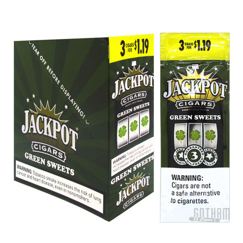 Jackpot Cigarillos Green Sweet 3 For $1.19 Box and Foil Pack