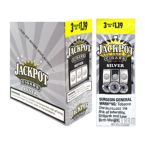Jackpot Cigarillos Silver 3 For $1.19 Box & Foil Pack