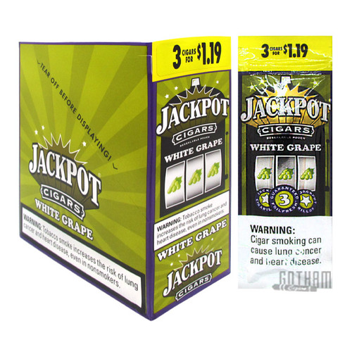 Jackpot Cigarillos White Grape 3 For $1.19 Box and Foil Pack