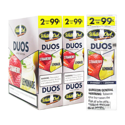 White Owl Cigarillos Duos Strawberry and Lemonade Box and foil pack