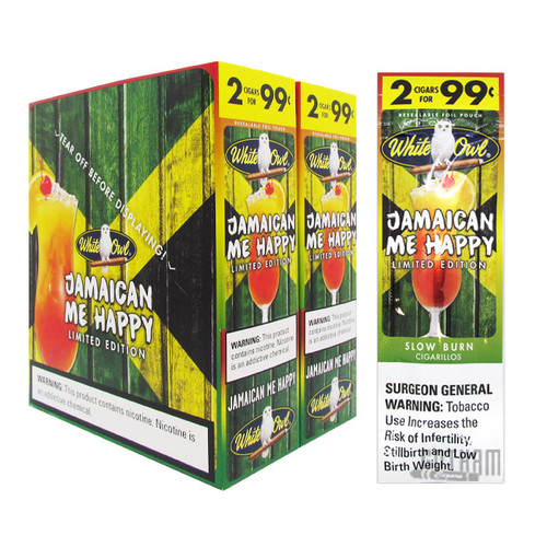 White Owl Cigarillos Jamaican Me Happy box and foil pack