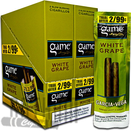 Game Cigarillos White Grape 2 for $0.99 upright & foilpack