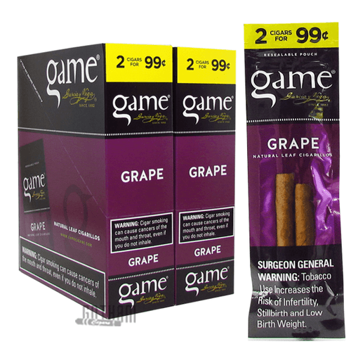 Game Cigarillos Grape Box and Pack