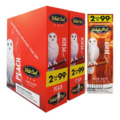 White Owl Cigarillos Peach 2 for $0.99 upright & foilpack