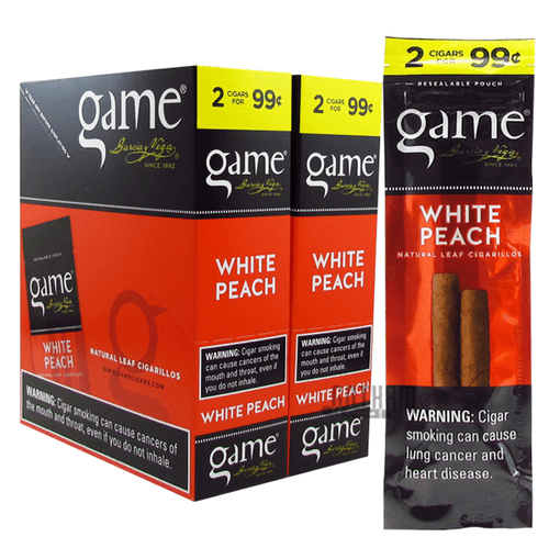 Game Cigarillos White Peach Box and Pack