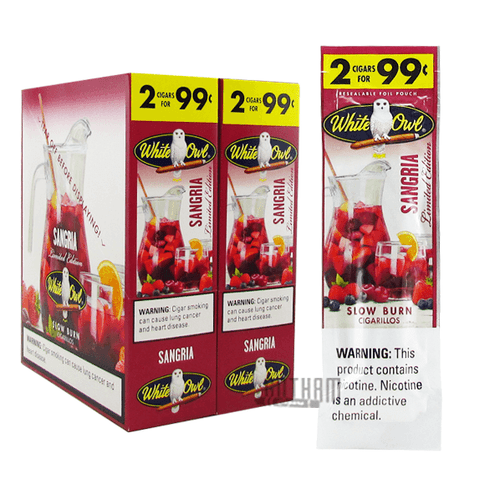 White Owl Cigarillos Sangria Box and Pack