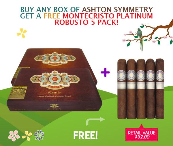 BUY A BOX OF ASHTON SYMMETRY & RECEIVE A FREE MONTECRISTO PLATINUM ROBUSTO FIVE PACK!