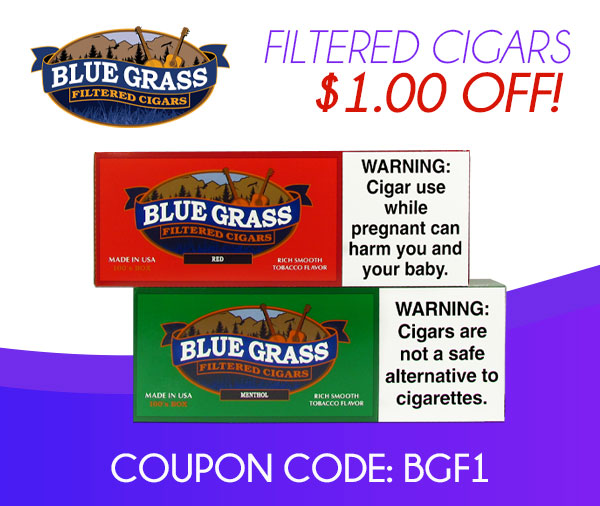 Blue Grass Filtered Cigars $1.00 OFF!