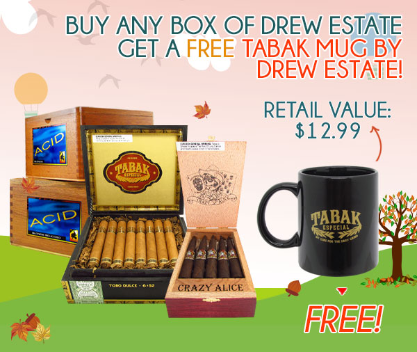 Buy any box of Drew Estate get a FREE Tabak Mug by Drew Estate!