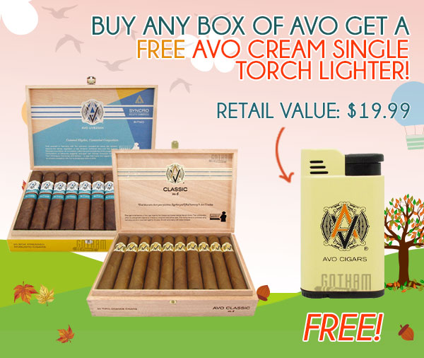 Buy any box of AVO get a FREE AVO Cream Single Torch Lighter!