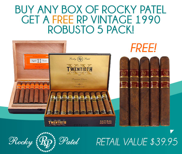 Buy any Box of Rocky Patel get a FREE Rocky Patel Vintage 1990 Robusto 5 Pack!