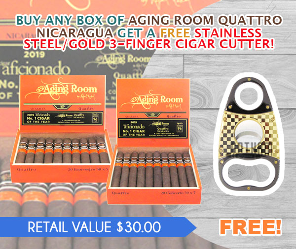 BUY ANY BOX OF AGING ROOM QUATTRO NICARAGUA GET A FREE STAINLESS STEEL/GOLD 3-FINGER CIGAR CUTTER!