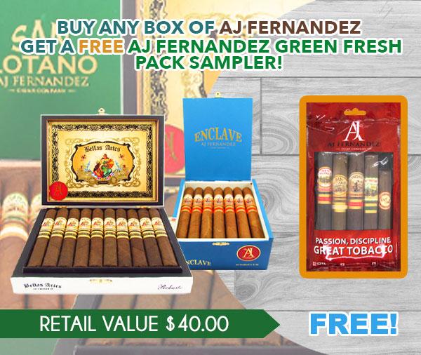 BUY ANY BOX OF AJ FERNANDEZ GET A FREE AJ FERNANDEZ FIVE CIGAR FRESH PACK!