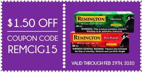 Remington Filtered Cigars $1.50 OFF! Coupon Code