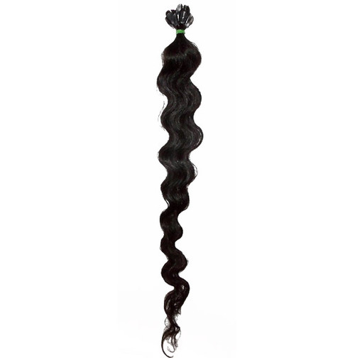 "Curly Q 22"" Indian Temple Hair, keratin tipped, 25 strands"