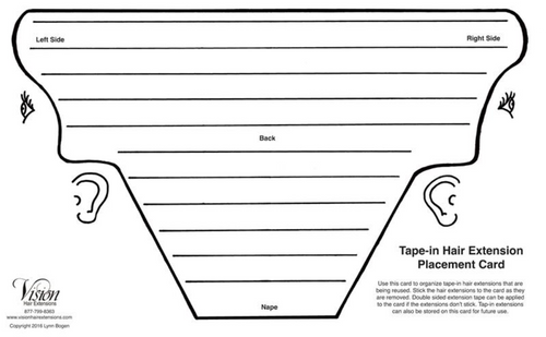Tape-in Hair Extension Placement Card
