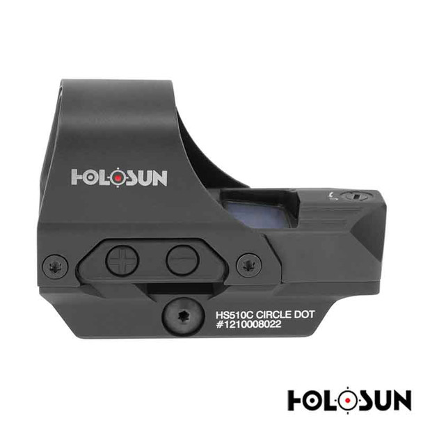 Holosun HS510C Reflex Sight 1x Selectable Reticle Quick-Release Mount Solar/Battery Powered Matte