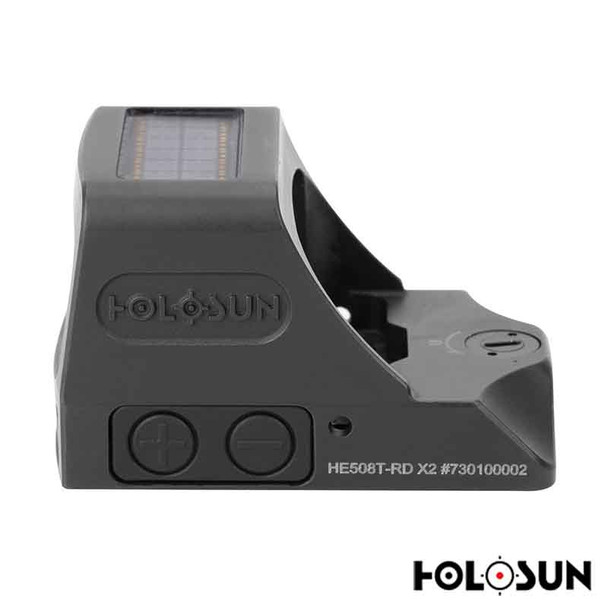 Holosun HE508T-X2 Elite Reflex Sight 1x Selectable Red Reticle Picatinny-Style Mount Solar/Battery Powered Titanium Matte For Sale