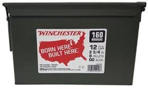 Winchester Military Grade 12g 00 Buckshot 9 Pellet 160 Round Can