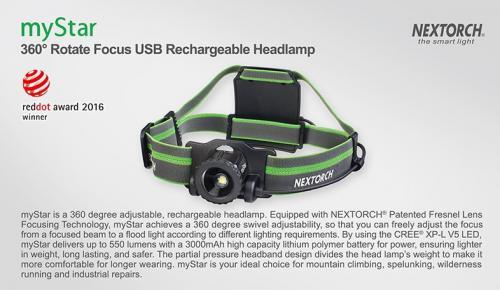 MyStar Headlamp Adjustable Focus 550 Lumens