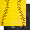 Wood Sports Collection Softball White Wood 12 x 12 Double-Sided Scrapbook Paper by Scrapbook Customs