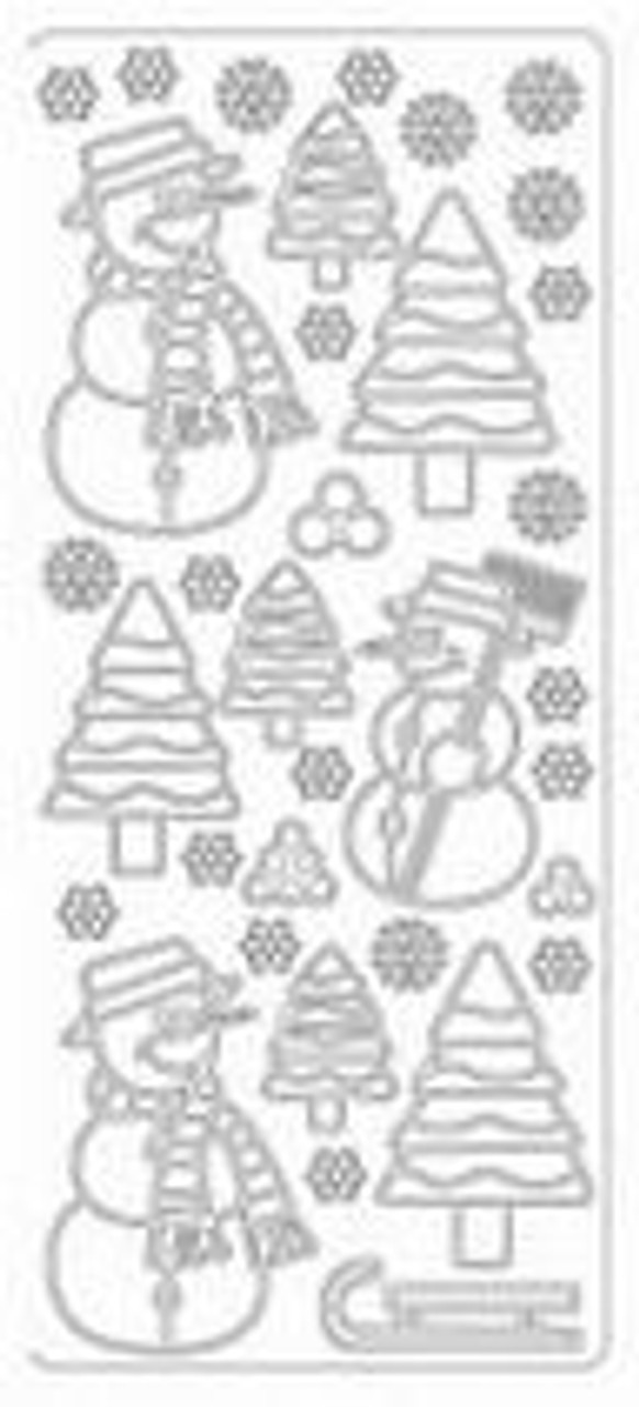 Silver Snowman & Trees Peel Off Stickers by Mark Richards USA