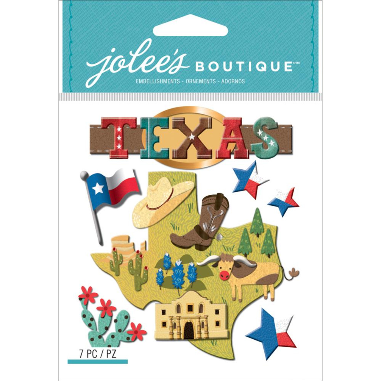 JOLEE/'S BOUTIQUE TEXAS STATE 7 PC STICKERS SCRAPBOOK CRAFT VACATION TRAVEL