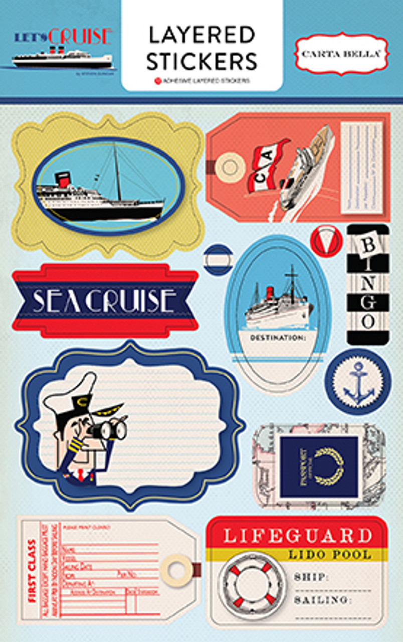 Let's Cruise Collection 4.5 x 7 Layered Sticker Embellishments by Carta Bella