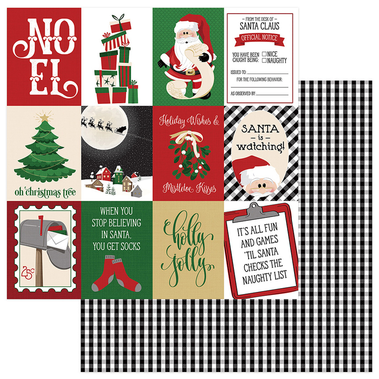 Here Comes Santa Collection Holly Jolly 12 x 12 Double-Sided Scrapbook Paper by Photoplay Paper