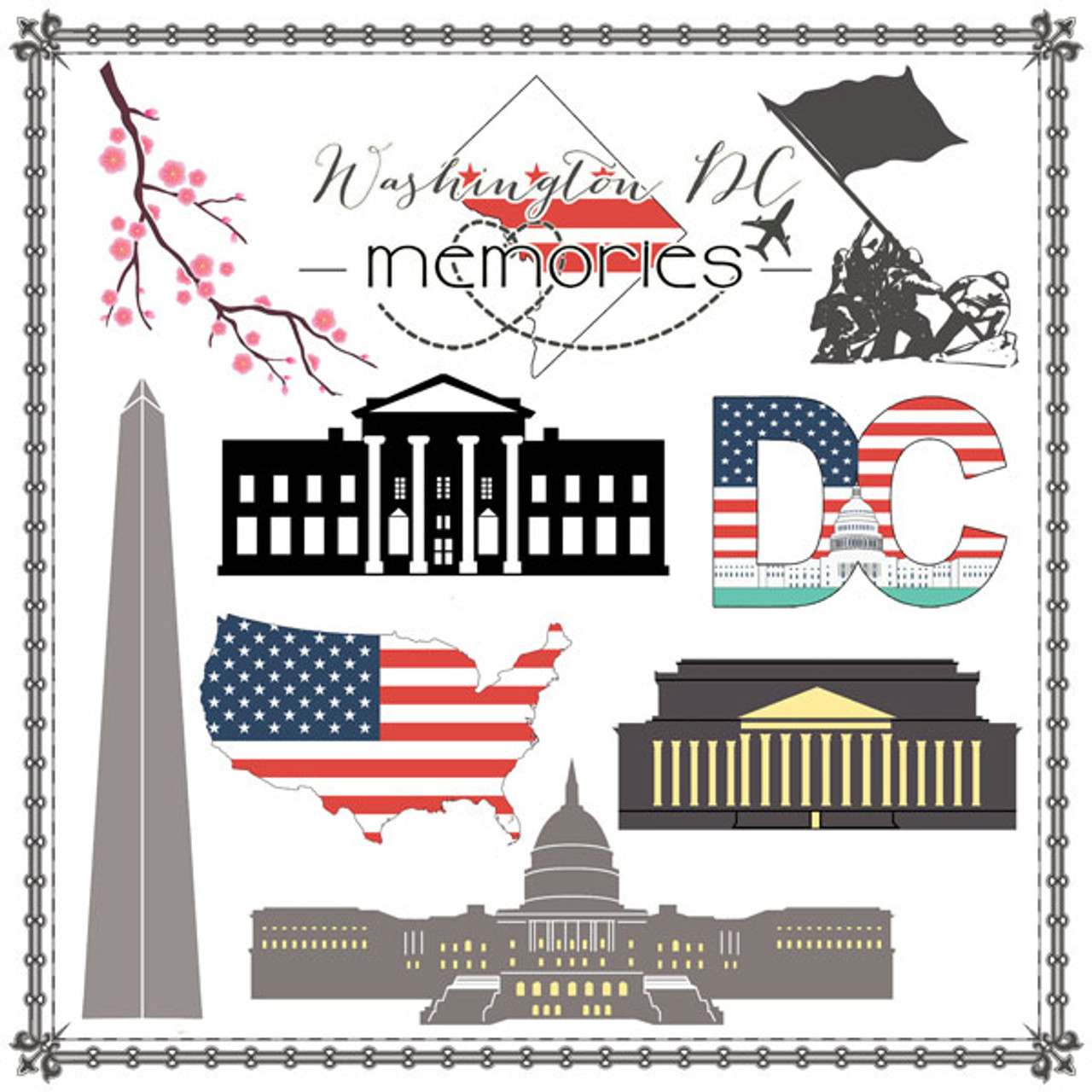 Travel Adventure Collection Washington DC Cut Out 12 x 12 Scrapbook Paper by Scrapbook Customs
