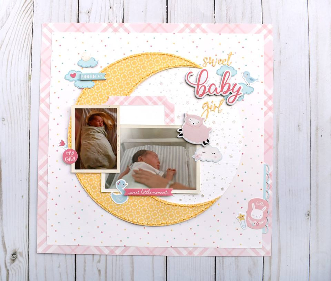Hello Baby Girl Collection 6 X 12 Chipboard Phrases Scrapbook Embellishments by Echo Park Paper