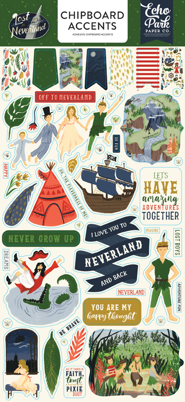 Lost In Neverland Collection 6 x 12 Chipboard Accents Scrapbook Embellishments by Echo Park Paper