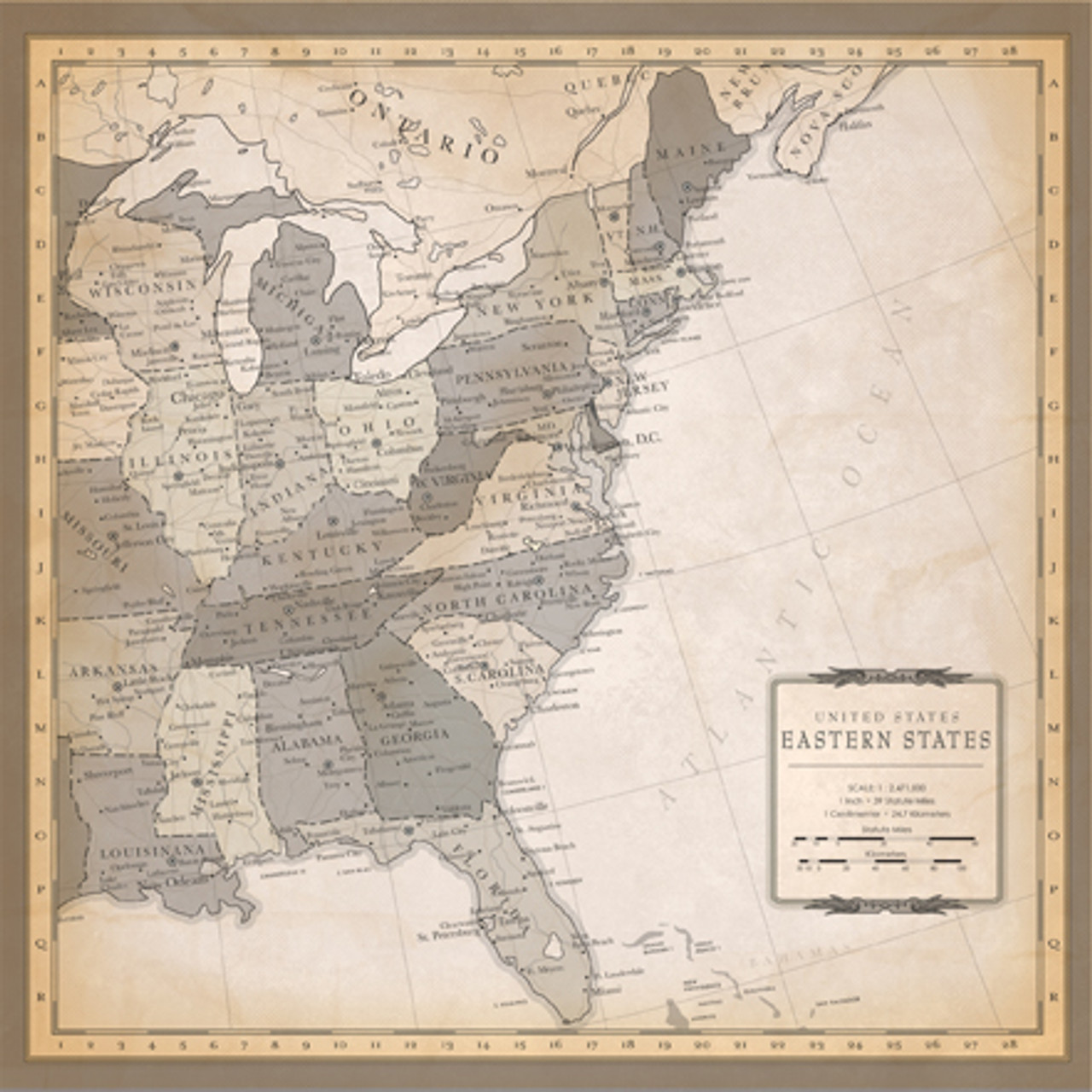 Cartography Collection US East Coast Map 12 x 12 Double-Sided ...
