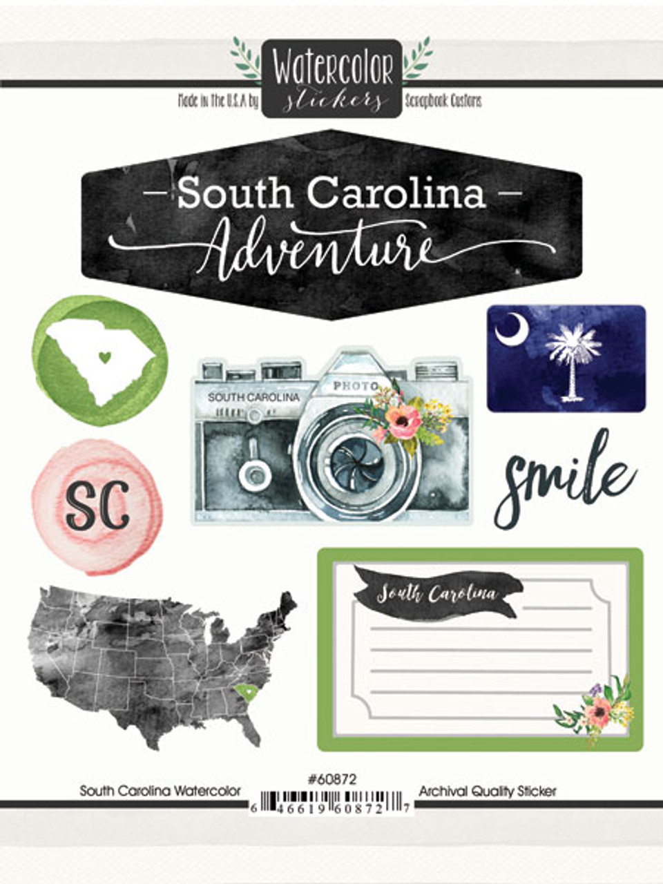 Watercolor Collection South Carolina 6 x 8 Scrapbook Sticker Sheet by Scrapbook Customs