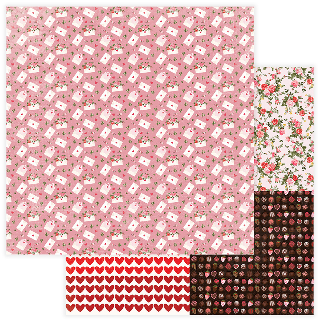 Be Mine Collection Love Letter 12 x 12 Double-Sided Scrapbook Paper by Photo Play Paper