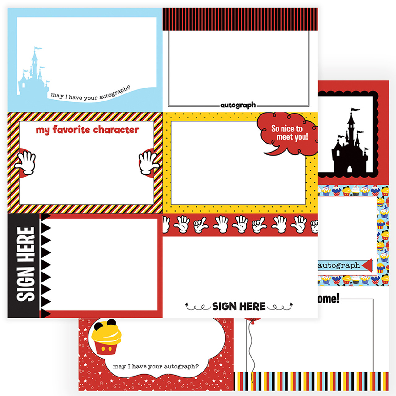 Another Day At The Park Collection Autograph Cards Paper 12 x 12 Double-Sided Scrapbook Paper by PhotoPlay Paper