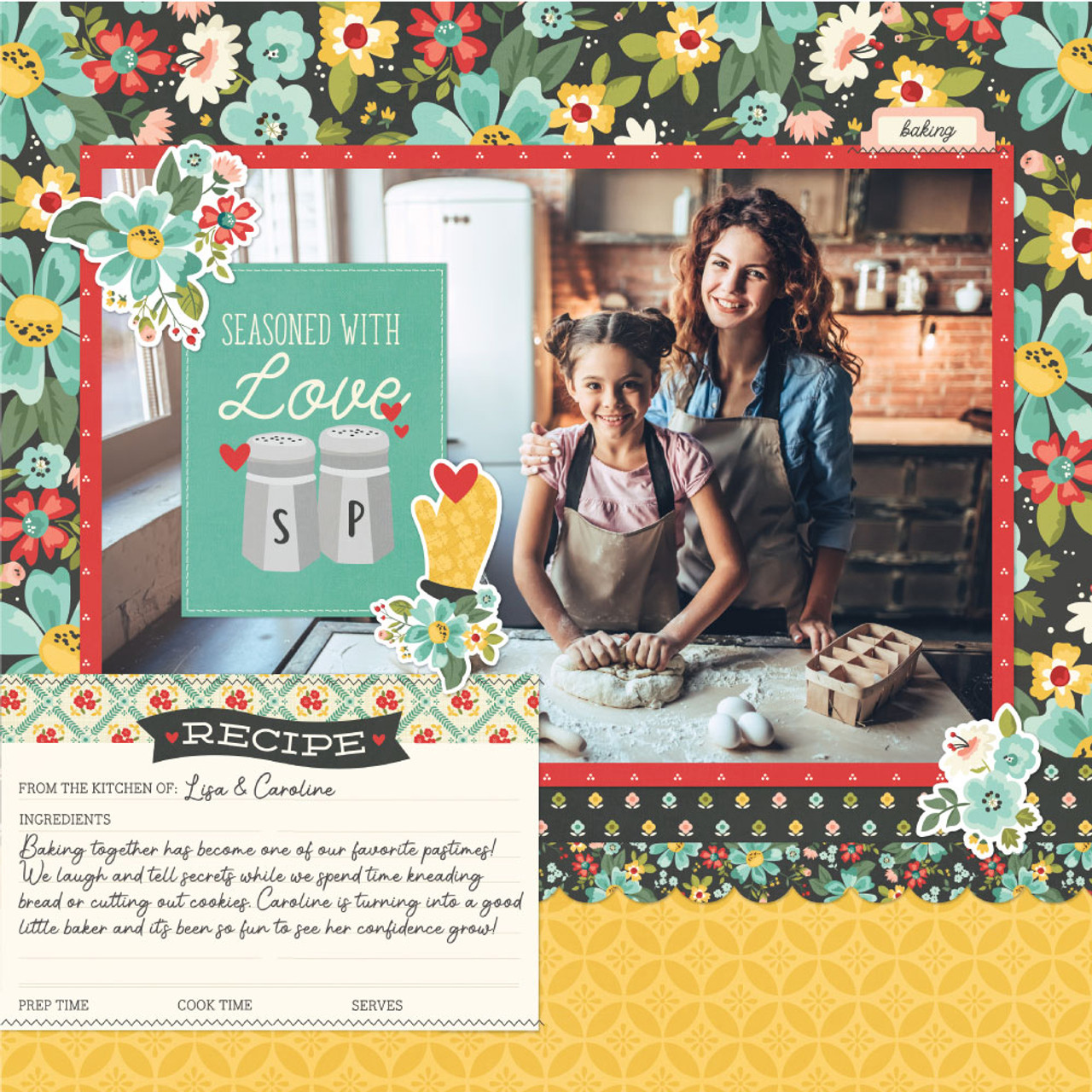 Apron Strings Collection Seasoned with Love 12 x 12 Double-Sided Scrapbook Paper by Simple Stories