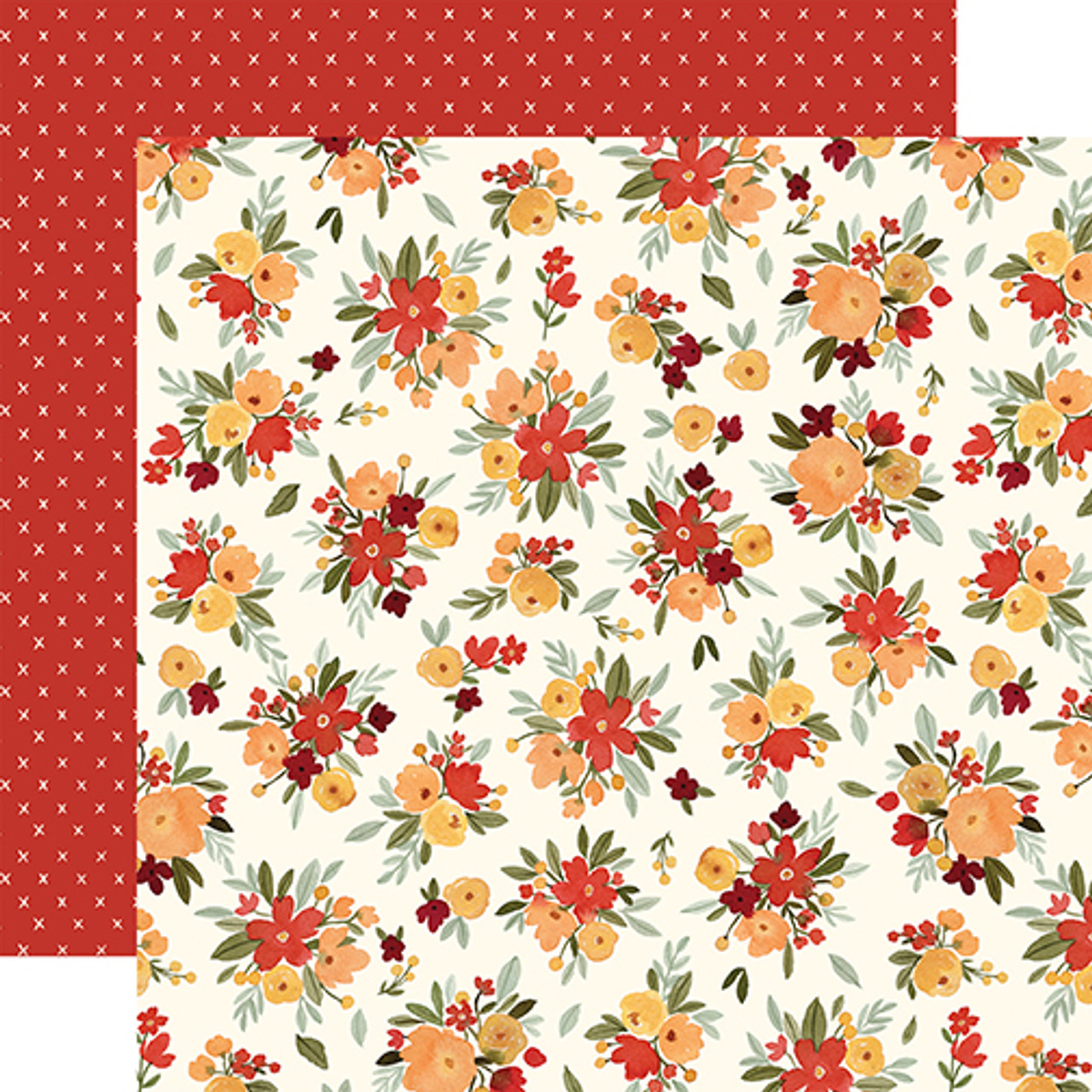 Hello Autumn Collection Fall Floral 12 x 12 Double-Sided Scrapbook Paper by Carta Bella