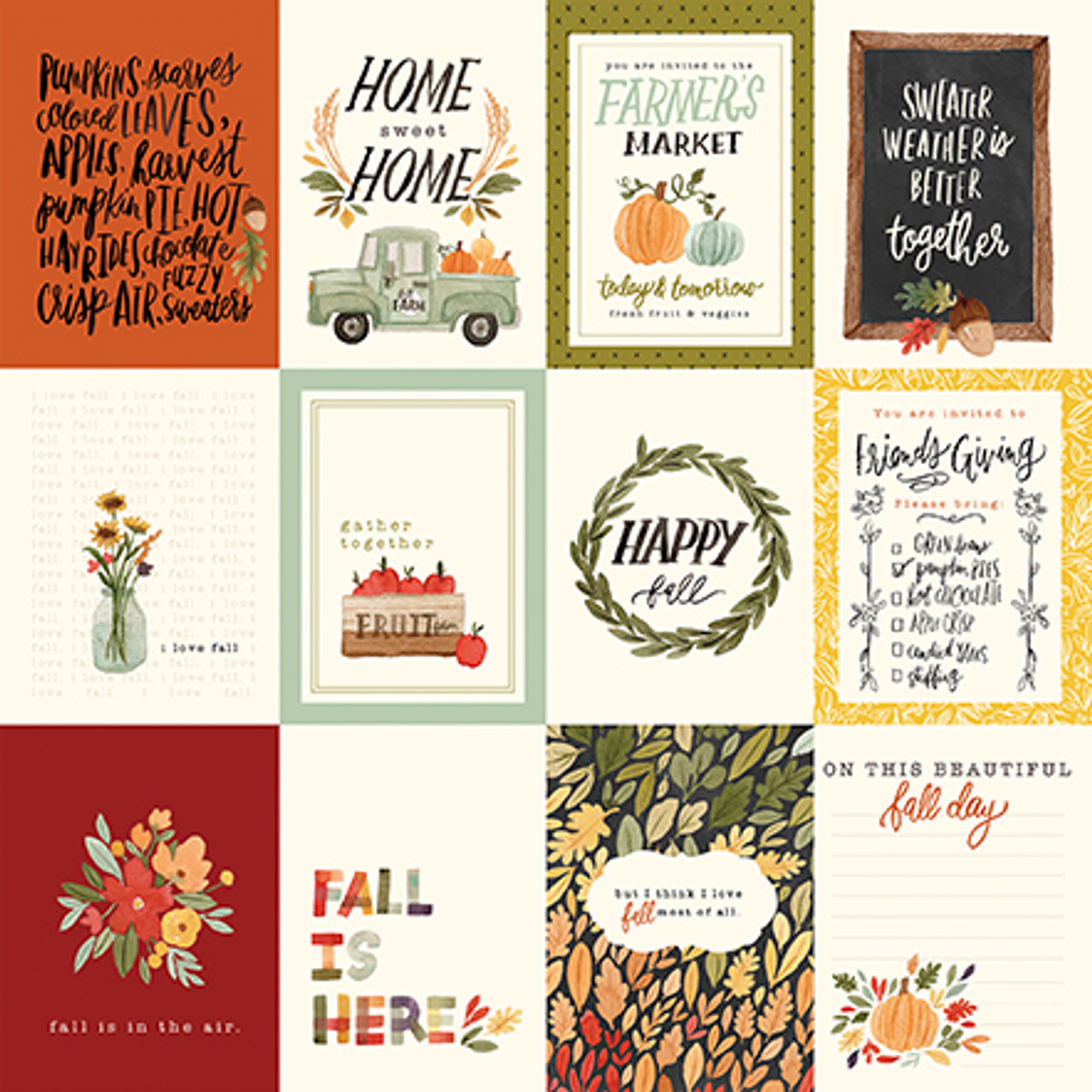 Hello Autumn Collection 3X4 Journaling Cards 12 x 12 Double-Sided Scrapbook Paper by Carta Bella
