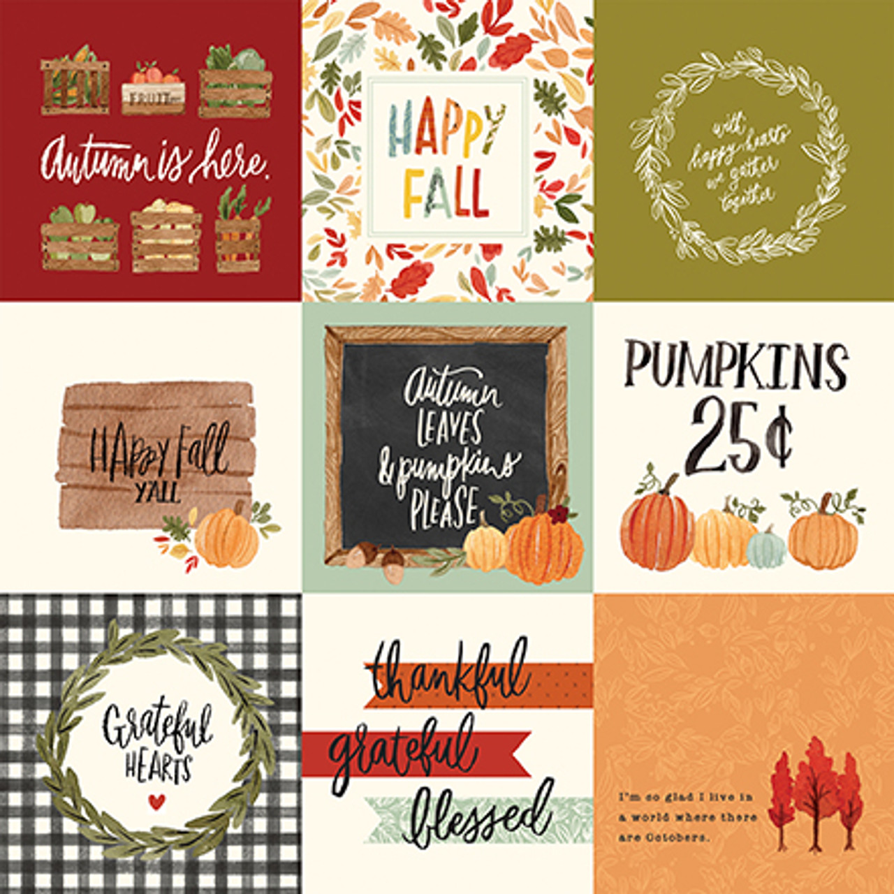 Hello Autumn Collection 4X4 Journaling Cards 12 x 12 Double-Sided Scrapbook Paper by Carta Bella