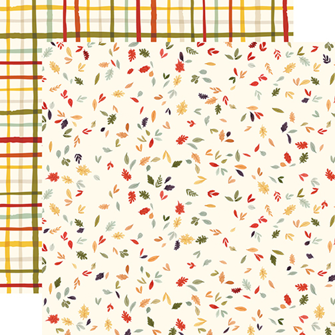 Hello Autumn Collection Scattered Leaves 12 x 12 Double-Sided Scrapbook Paper by Carta Bella