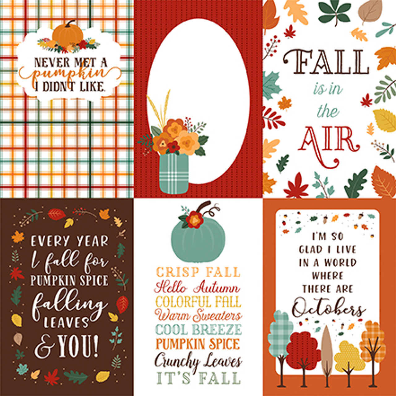 Happy Fall Collection 4X6 Journaling Cards 12 x 12 Double-Sided Scrapbook Paper by Echo Park Paper