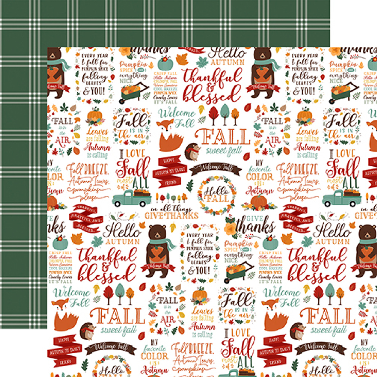 Happy Fall Collection Hello Autumn 12 x 12 Double-Sided Scrapbook Paper by Echo Park Paper