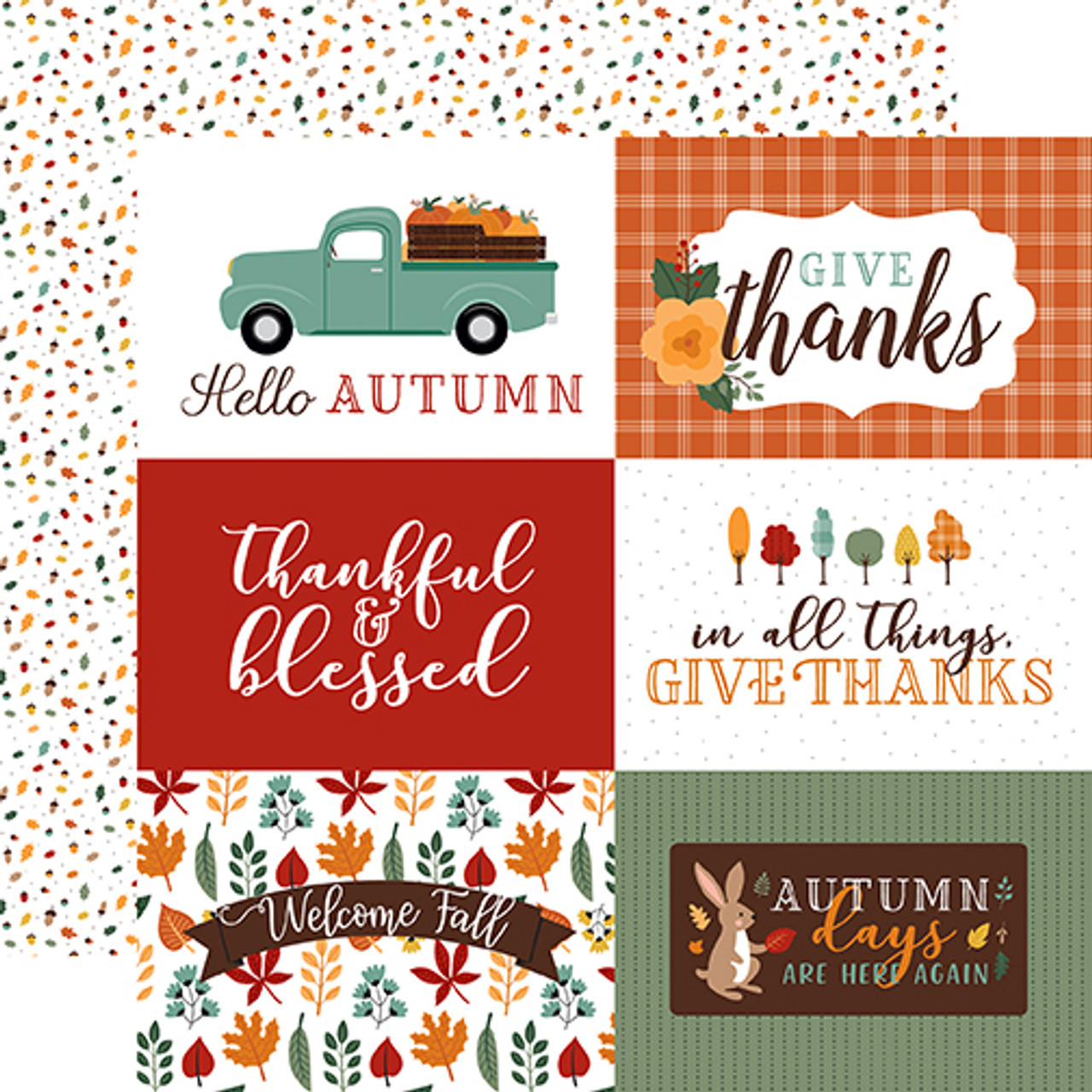 Happy Fall Collection 6X4 Journaling Cards 12 x 12 Double-Sided Scrapbook Paper by Echo Park Paper