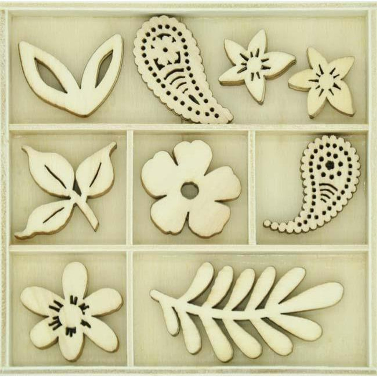 Paisley Collection Wooden Flourish Pack by Kaisercraft - 45 Pieces