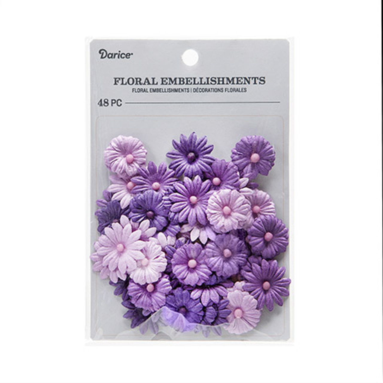 Floral Embellishments Collection Violet Purple Button Daisy .75 inch Blooms Scrapbook Embellishment by Darice - 48 Pieces