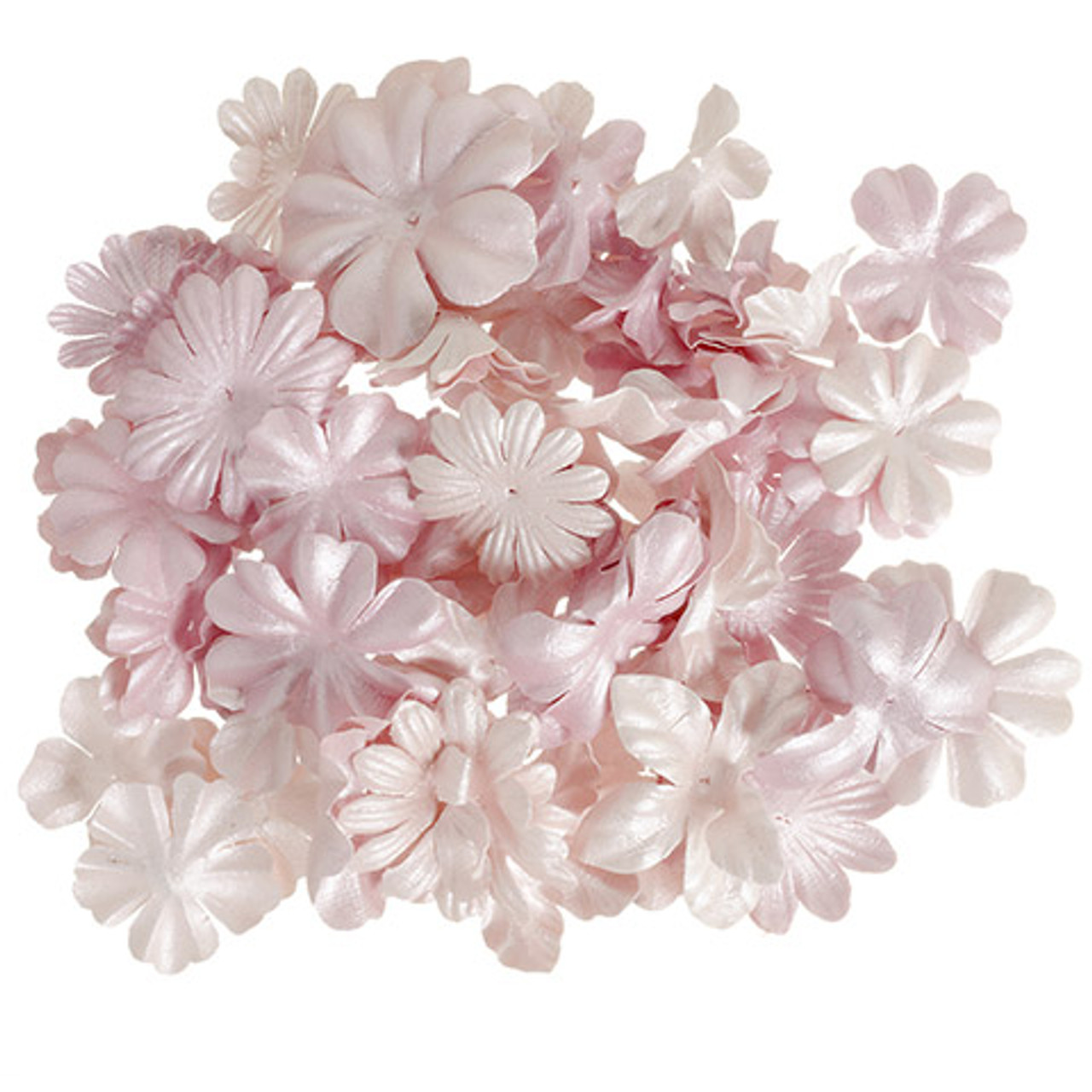 Floral Embellishments Collection Pearlized Pink Petals 1.25 to 1.75 inch Blooms Scrapbook Embellishment by Darice - 65 Pieces
